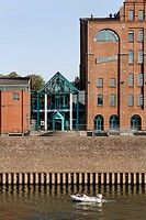 Kultur_ und Stadthistorisches Museum cultural and city historical museum, former storage building, inner harbor, Duisburg, Ruhrgebiet area, North Rhin...