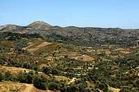 Panoramic view from Anogeia to the Psiloritis mountains, Crete, Greece, Europe