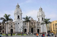 Cathedral of Lima, Plaza de Armas de Lima, historic centre, Lima, Peru, South America, Latin America