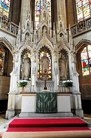 High altar area, Evangelische Schlosskirche Protestant castle church, Luther city Wittenberg, Saxony-Anhalt, Germany, Europe