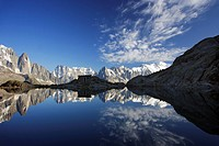 The Aiguilles de Chamonix mountains reflected in Lac Blanc lake, far right Mont Blanc, Haute-Savoie, France, Europe