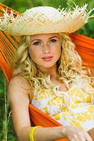 Young woman in a hammock (thumbnail)