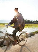 Man riding a bicycle, Myanmar