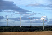 Wind farm near Kisselbach in the Hunsrueck region, Rhineland-Palatinate, Germany, Europe