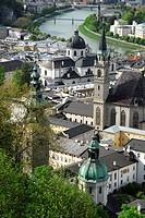 View from the Festung Hohensalzburg fortress on the historic town with Franziskanerkirche Franciscan church, Kollegienkirche collegiate church, Salzbu...