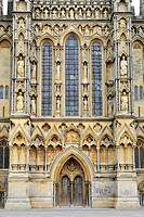 West facade of St Andrew´s Cathedral, completed in 1260, Wells, Somerset County, England, United Kingdom, Europe