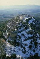 Aerial photograph of the Nimrod fortress in the northern Golan Heights at winter