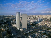 Aerial photograph of the Azrieli towers in Tel Aviv