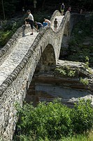 Roman bridge Ponte dei Salti in Lavertezzo, Ticino, Switzerland, Europe