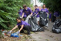 Detroit, Michigan - High school aged volunteers from St  Mary of the Hills Catholic church in Rochester Hills, Michigan clean trash and debris from an...