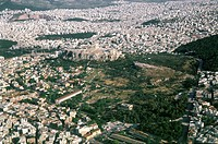 Aerial photograph of the Acropolis in the modern city of Athens Greece
