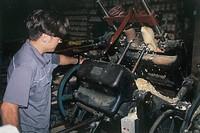 Photograph of a dutch carpenter making clogs