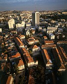Aerial photograph of the Knesset Yisrael neighborhood in modern Jerusalem
