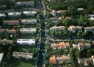 Aerial photograph of the old neighborhood of Ramat Aviv in northern Tel Aviv