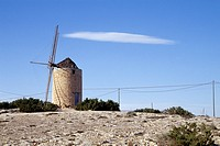 Traditional windmill near Sant Francesc de Formentera, Illa de Formentera island, Balearic Islands, Spain, Europe