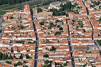 Le Château town and citadelle. Aerial view. Island of Oleron. Charente Maritime. France.