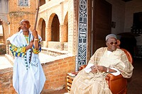 Sultan Ibrahim Mbombo Njoya in front of the Sultan's palace, holding an audience, Foumban, Cameroon, Africa