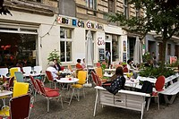 Kauf Dich Gluecklich, buy your happiness, a cafe in the Odeberger Strasse street, Prenzlauer Berg district, Pankow, Berlin, Germany, Europe