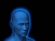 Blue male head with binary code, 3D Illustration