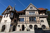 Hennebergerhaus house, inn, half_timbered house dating from the 19th century, Meiningen, Rhoen, Thuringia, Germany, Europe