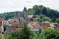 City overview, church, half-timbered houses, Naturpark Habichtswald nature reserve, Hesse, Germany, Europe