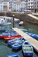 Fishing boats, Luarca's boat harbour, Fishing port, Luarca, Asturias, Spain, Europe