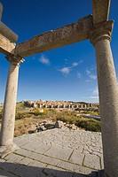 Los Cuatro Postes (The Four Poles) and general view of Ávila. Castilla León. Spain