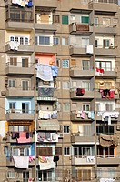 Balconies of apartment block, Cairo, Egypt, North Africa