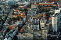 View of the Volksbuehne Theatre in Berlin Mitte, Berlin from above, Berlin, Germany, Europe