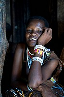 Portrait of a woman of the Datooga tribe, who live in the north of Tanzania around Lake Eyasi, Africa