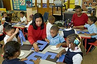 Pre-kindergarten classroom at Crary Elementary school, Detroit, Michigan, USA
