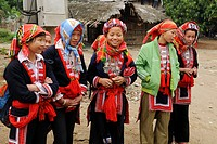 Girls of the Red Zhao minority, mountain tribe, Ha Giang Province, Northern Vietnam, Asia