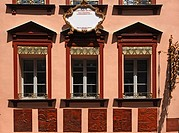 Decorative and renovated facade with tile reliefs of craftman's trades in the historic town centre, Nuremberg, Middle Franconia, Bavaria, Germany, Eur...