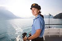 Ship's captain of a passenger motor vessel on Lake Lucerne, Switzerland, Europe