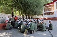 School class learning in the schoolyard in the Herrenhuter Missionary School, Leh, Ladakh, India, North India, Himalayas, Asia
