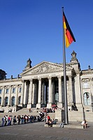 Flag at the Reichstag parliament building in Berlin, Germany, Europe