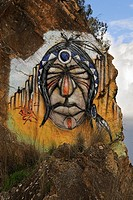 American indians represented in graffiti. Badajoz. Extremadura. Spain