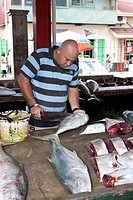 The lively fish market Sir Selwyn Clarke Market on Market Street, Victoria, Mahe Island, Seychelles, Indian Ocean, Africa