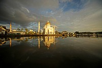 Royal Mosque of Sultan Omar Ali Saifuddin reflected in a lagoon in the capital city, Bandar Seri Begawan, Brunei, Asia