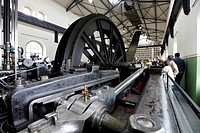 Steam engine as the drive of the conveying system in the Malakow Tower at the Hannover colliery, LWL Museum of Industry, Bochum, North Rhine-Westphali...