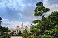 Historic town hall and bonsai tree, Saigon, Ho Chi Minh City, Vietnam, Southeast Asia