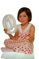 Four_year_old girl with at sign, symbolic image for easy Internet