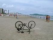 Bicycle, Beach, Praia Grande, São Paulo, Brazil