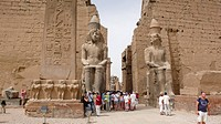 Entrance, pylon with Ramses II figures, Luxor Temple, Egypt, Africa