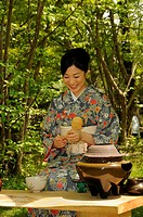 Outdoor tea ceremony in Kyoto, Japan, Asia