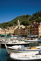 Boats and buildings, Portofino, Liguria, Italy
