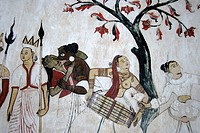 Buddhism, ancient wall painting, bare-breasted woman playing tabla drum, Mulgirigala Temple, Mulkirigala, Ceylon, Sri Lanka, South Asia, Asia