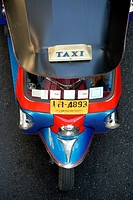 Blue red tricycle, auto rickshaw, tuk-tuk taxi from above, Bangkok, Thailand, Southeast Asia, Asia