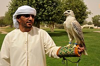 Falconer holding a falcon, the national animal of Abu Dhabi, at the Al Ain zoo, Al Ain, Abu Dhabi, United Arab Emirates, Arabia, Orient, Middle East