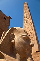 Ramses II and obelisk, Luxor Temple, Nile Valley, Egypt